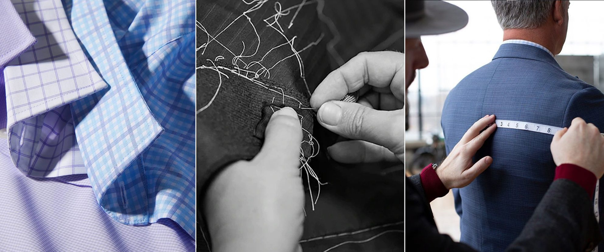 Collage of 3 photos: shirt fabrics, hands holding needle and sewing and tailor measuring back of jacket on male cusotmer.